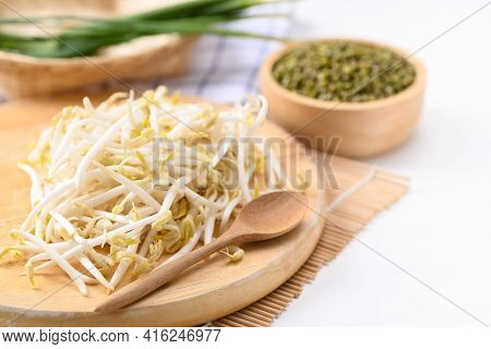 Fresh Mung Bean Sprouts And Mung Bean Seeds, Organic Vegetables And Food Ingredients In Asian Food