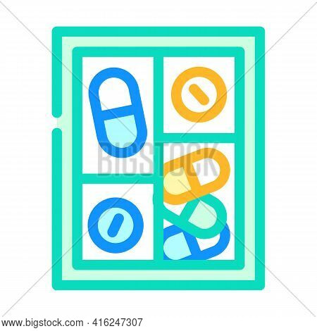 Pillbox Container Color Icon Vector. Pillbox Container Sign. Isolated Symbol Illustration