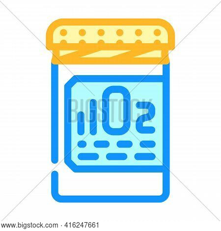 Oxygen Pills For Restoration And Acceleration Metabolism Color Icon Vector. Oxygen Pills For Restora