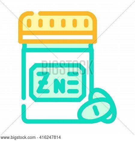 Zinc Pills Trace Elements Color Icon Vector. Zinc Pills Trace Elements Sign. Isolated Symbol Illustr