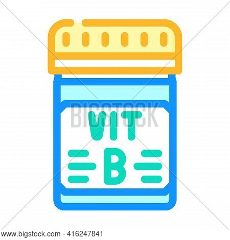 Vitamin B Package Color Icon Vector. Vitamin B Package Sign. Isolated Symbol Illustration