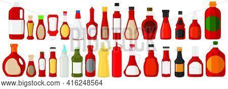 Illustration On Theme Big Kit Varied Glass Bottles Filled Liquid Red Wine Vinegar. Bottles Consistin