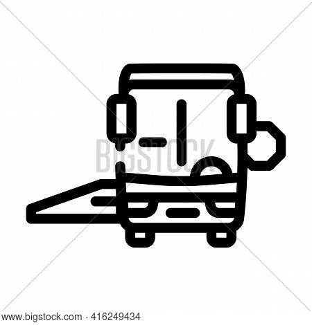 Bus With Ramp Line Icon Vector. Bus With Ramp Sign. Isolated Contour Symbol Black Illustration