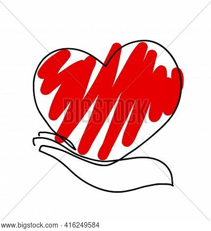 One Line Drawing Of Hand Holding Heart. One Continuous Line Drawing Of Female Hand Holding The Heart