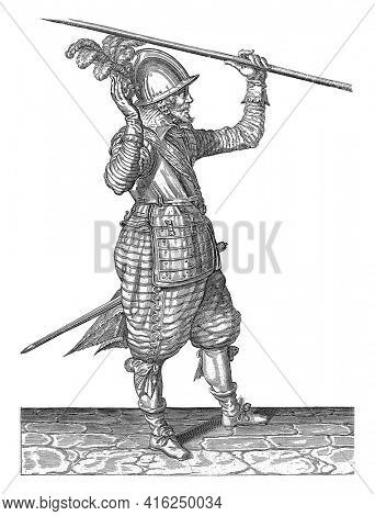 A soldier, full-length, to the right, lifting a spear (lance) with his left hand above his left shoulder, his right hand raised to take him over, vintage engraving.