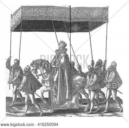 The Duke of Anjou riding on horseback under a canopy held by six porters, vintage engraving.