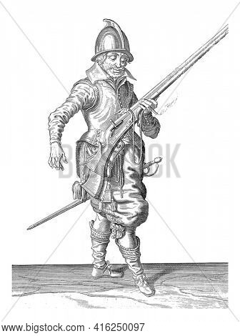 A Soldier, to the Right , who is holding a rudder (a particular type of firearm) with his left hand after firing, angled upward to avoid accidentally injuring a companion, vintage engraving.
