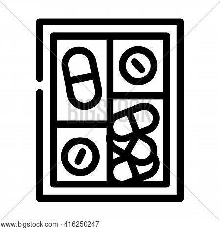 Pillbox Container Line Icon Vector. Pillbox Container Sign. Isolated Contour Symbol Black Illustrati