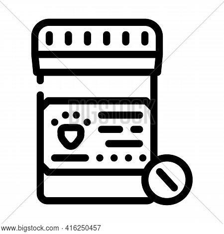 Animal Pills Line Icon Vector. Animal Pills Sign. Isolated Contour Symbol Black Illustration