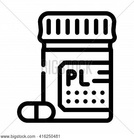 Placebo Pills Line Icon Vector. Placebo Pills Sign. Isolated Contour Symbol Black Illustration