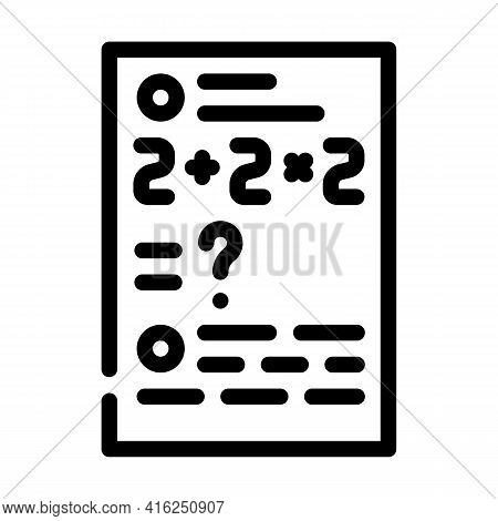 Math Problems Line Icon Vector. Math Problems Sign. Isolated Contour Symbol Black Illustration