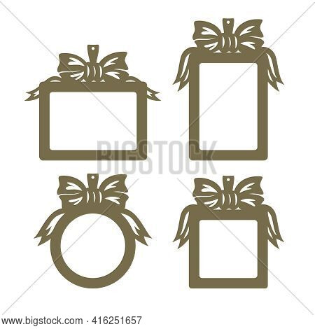 Set Of Photo Frames. Hanging Decoration With Bow And Ribbons. Copy Space. For Birthday, Wedding. Lay