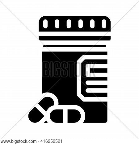 Pills Package Glyph Icon Vector. Pills Package Sign. Isolated Contour Symbol Black Illustration