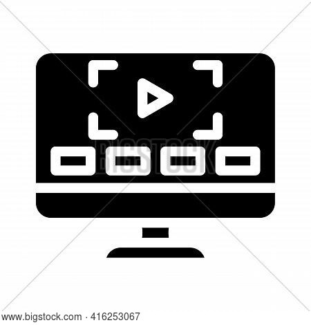 Video Lessons Glyph Icon Vector. Video Lessons Sign. Isolated Contour Symbol Black Illustration