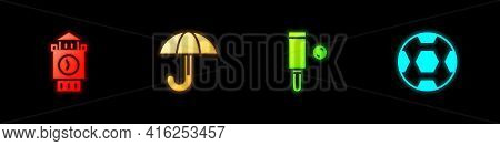 Set Big Ben Tower, Umbrella, Wood Cricket Bat And Ball And Football Icon. Vector