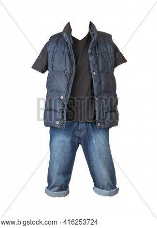 Denim Dark Blue Shorts,balck T-shirt  And Dark Blue Jacket Without Sleeves Isolated On White Backgro