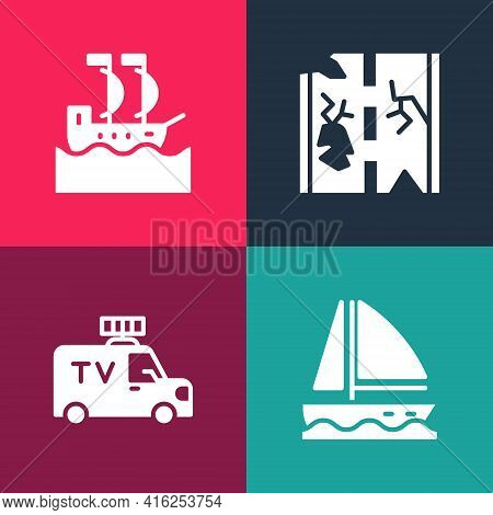 Set Pop Art Yacht Sailboat, Tv News Car, Broken Road And Sailboat Icon. Vector