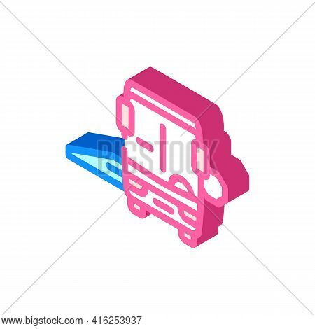 Bus With Ramp Isometric Icon Vector. Bus With Ramp Sign. Isolated Symbol Illustration