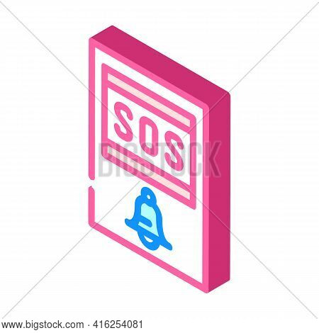 Sos Button Isometric Icon Vector. Sos Button Sign. Isolated Symbol Illustration
