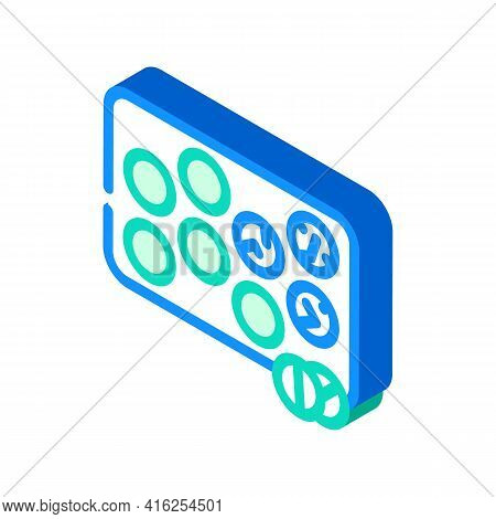 Glister With Pills Isometric Icon Vector. Glister With Pills Sign. Isolated Symbol Illustration