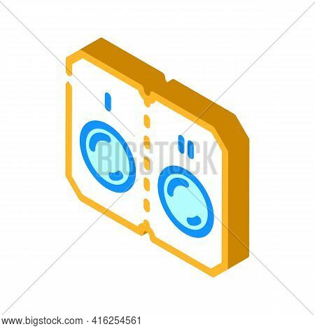 Pills That Divided Into Two Doses Isometric Icon Vector. Pills That Divided Into Two Doses Sign. Iso
