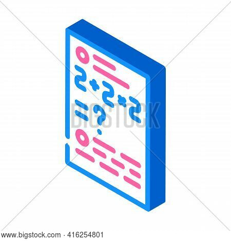 Math Problems Isometric Icon Vector. Math Problems Sign. Isolated Symbol Illustration