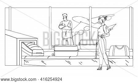 Airport Conveyor Equipment With Baggage Black Line Pencil Drawing Vector. Man And Woman Airplane Pas