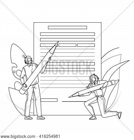 Application Form Filling People With Pencil Black Line Pencil Drawing Vector. Young Man And Woman Fi