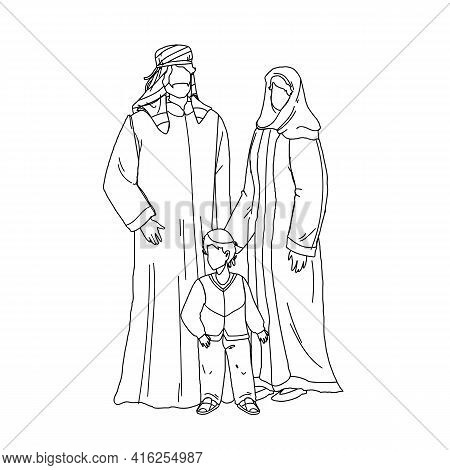 Arab Family People Father, Mother And Son Black Line Pencil Drawing Vector. Arabic Family Man, Woman