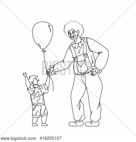 Clown Giving To Little Boy Child Balloon Black Line Pencil Drawing Vector. Happy Clown Man Dressed I