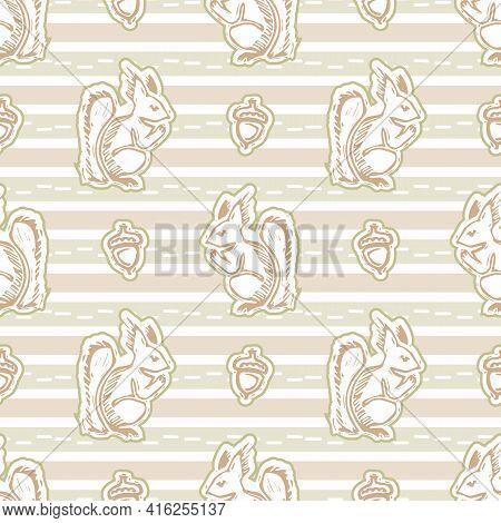Seamless Minimalist Squirrel Blockprint Pattern Background. Calm Pale Tonal Pastel Color Wallpaper.