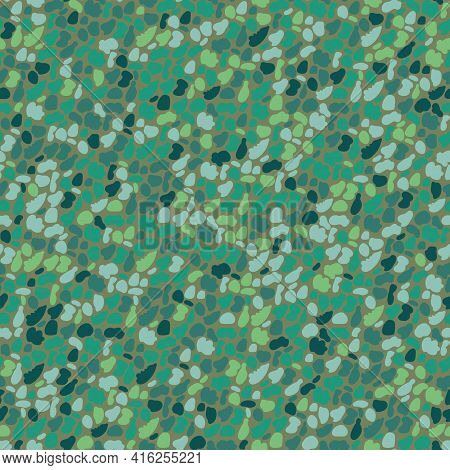 Vector Dense Malachite Pebble Pattern Background. Monochrome Green Oval Circle Shapes Backdrop. Roun