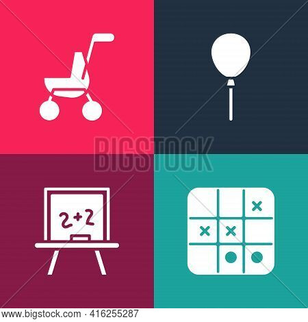 Set Pop Art Tic Tac Toe Game, Chalkboard, Balloons With Ribbon And Baby Stroller Icon. Vector