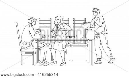 Business Dining And Meeting In Restaurant Black Line Pencil Drawing Vector. Businesspeople Have Dini