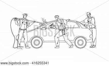 Car Wash Service Workers Washing Automobile Black Line Pencil Drawing Vector. Car Wash Station Man W