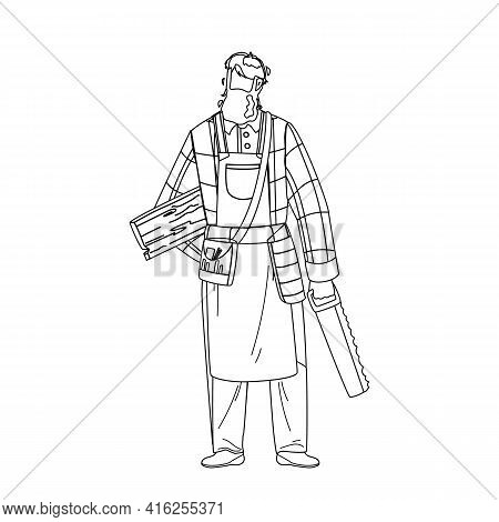 Carpenter Holding Saw And Wooden Board Black Line Pencil Drawing Vector. Bearded Carpenter Man Weari