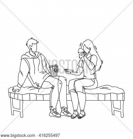In Coffee House Customers Have Meeting Black Line Pencil Drawing Vector. Young Man And Woman Sitting