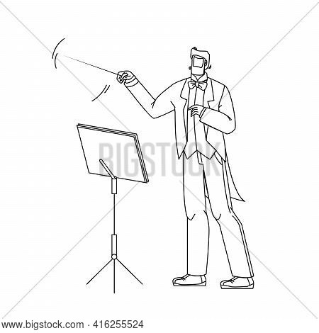Music Conductor Man Conducting Orchestra Black Line Pencil Drawing Vector. Conductor Leader With Sti