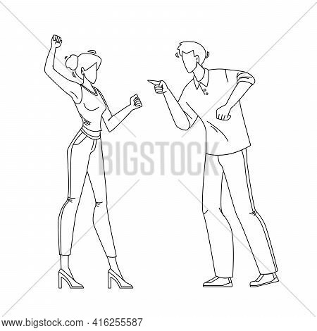 Man And Girl Couple Yelling At Each Other Black Line Pencil Drawing Vector. Young Boy And Girl Coupl
