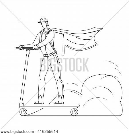 Courier Man Riding Scooter Delivery Service Black Line Pencil Drawing Vector. Courier Man With Box A
