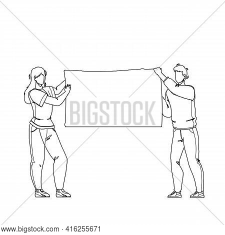 Demonstration Blank Canvas Hold Protesters Black Line Pencil Drawing Vector. Demonstration Poster Ho