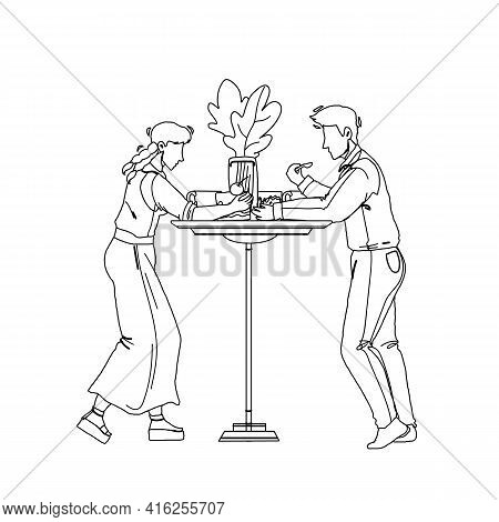 Dessert Eating Man And Woman At Cafe Table Black Line Pencil Drawing Vector. Boy And Girl Couple Eat