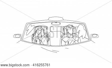 Driver Man Driving Car And Carrying Girl Black Line Pencil Drawing Vector. Driver Drive Transport Wi
