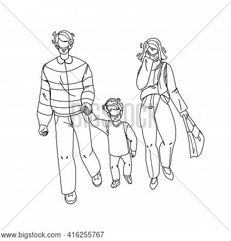 Dust Pollution Protective Mask Wear Family Black Line Pencil Drawing Vector. Father, Mother And Son