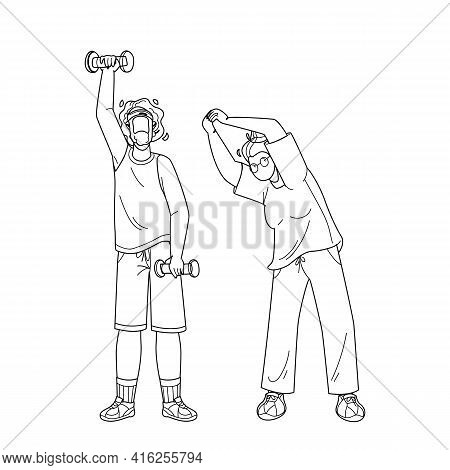 Elderly Fitness Exercising Senior Couple Black Line Pencil Drawing Vector. Old Man And Woman Make Fi