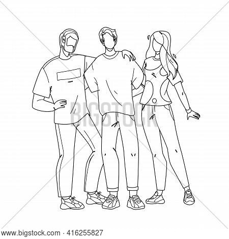 Employee Team Stay Together And Embracing Black Line Pencil Drawing Vector. Company Employee Young C