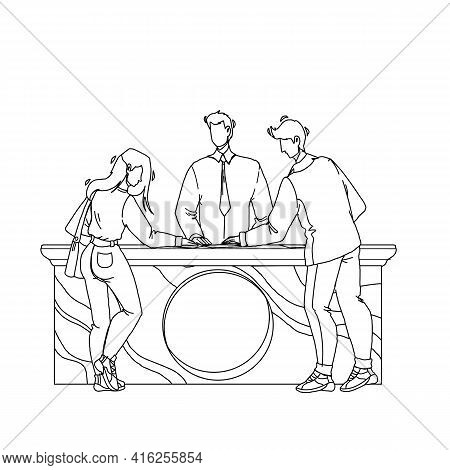 Expo Center Visitors Communicate With Staff Black Line Pencil Drawing Vector. Expo Center Customers