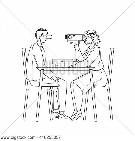 Eye Checking Patient In Doctor Cabinet Black Line Pencil Drawing Vector. Medicine Worker Eye Checkin