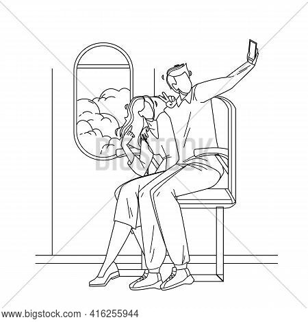 Couple Make Flight Selfie On Phone Camera Black Line Pencil Drawing Vector. Young Man And Woman Sitt