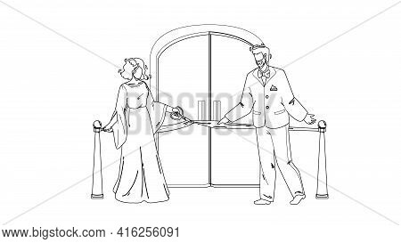 Grand Opening Ceremony, People Cut Tape Black Line Pencil Drawing Vector. Man And Woman Businesspeop